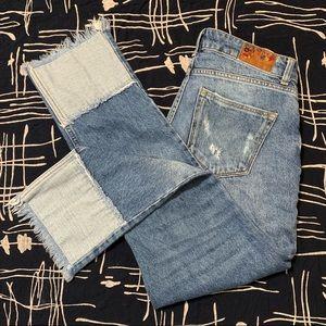 ZARA high waisted cropped straight leg jeans